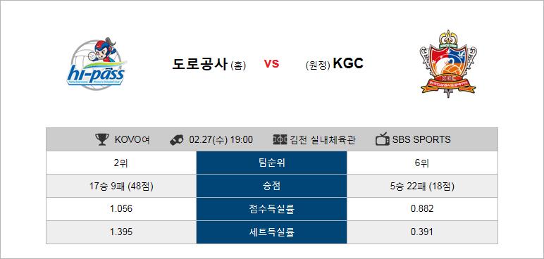 2월27일 배구 V리그 한국도로공사 VS KGC인삼공사 경기일정